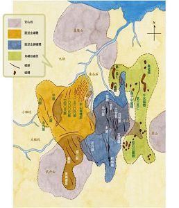 九份、金瓜石礦體分布圖