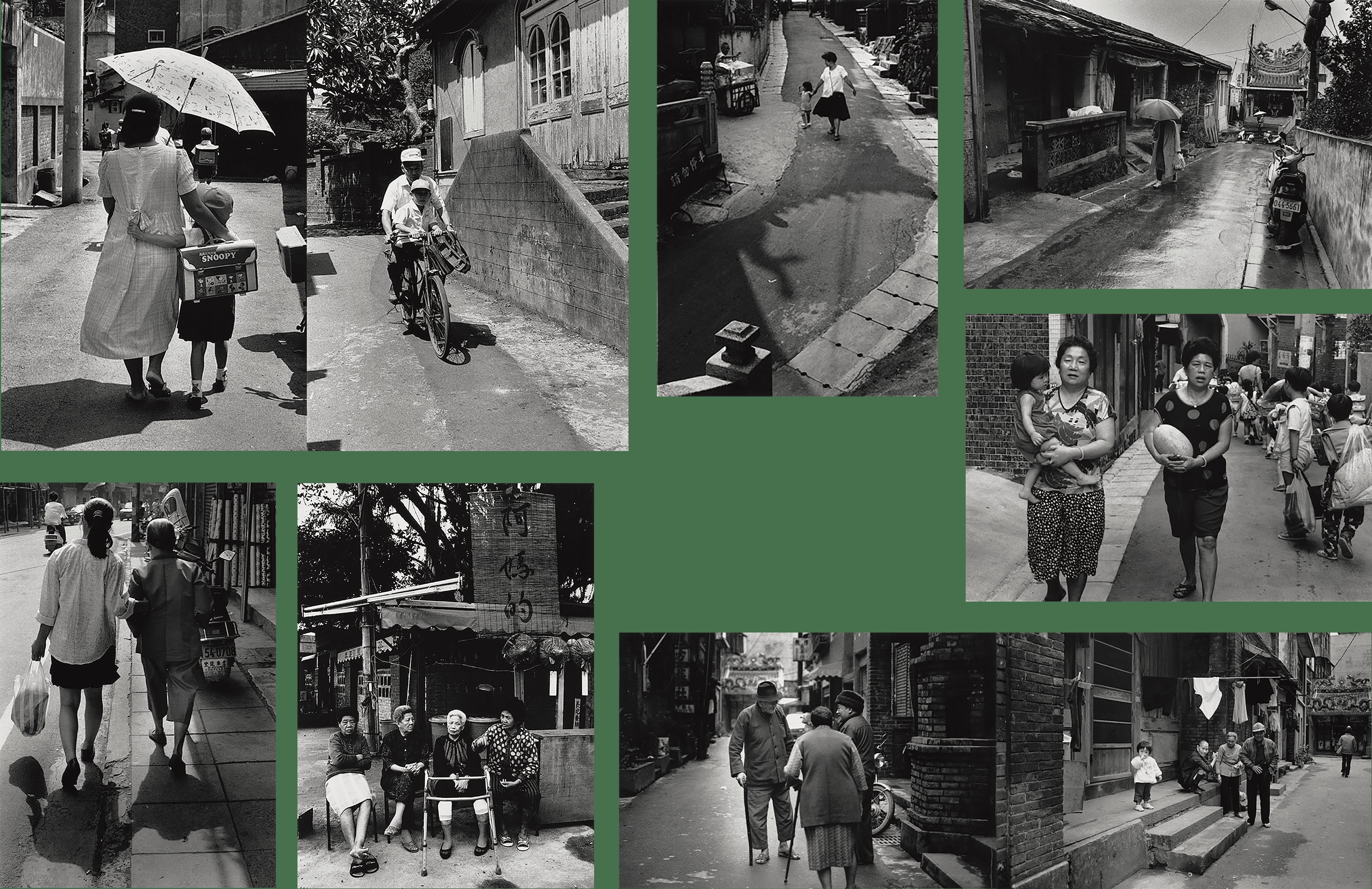 1990年馬偕街(左上一、二)與中正路(左下一)、1991-1993渡船頭環河道路(左下二)、1984-1991年清水街(右側5張)
