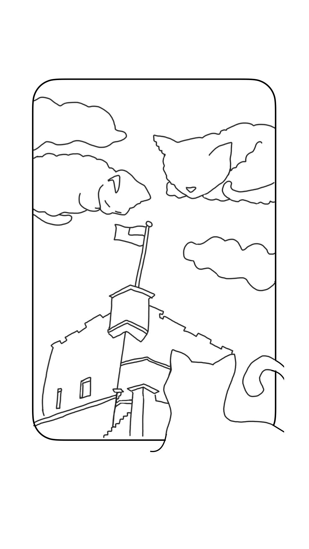 新北市國際藝術村-記憶屋計畫-著色畫-紅毛城(作者:陳峻儀)